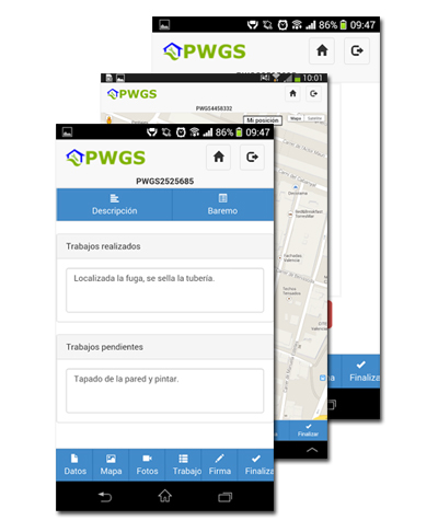 Capturas de PWGS en Android